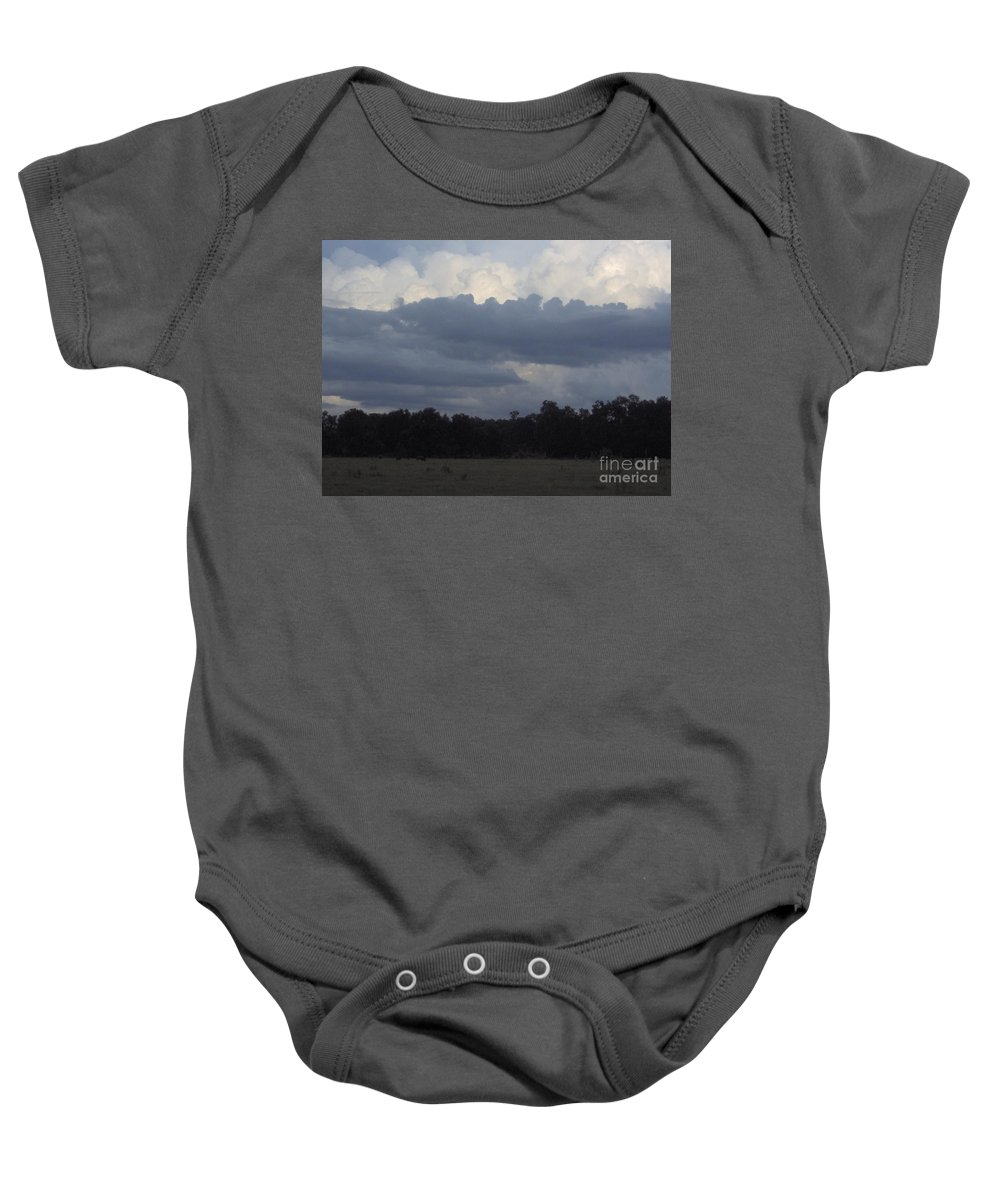 Clouds Baby Onesie featuring the photograph Thunder Storm On The Horizon by D Hackett
