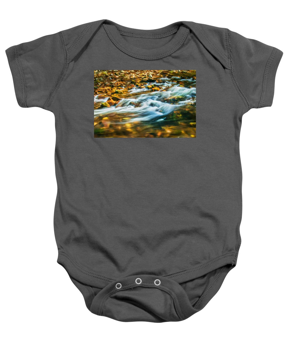 Stream Baby Onesie featuring the photograph Stream Fall Colors Great Smoky Mountains Painted by Rich Franco