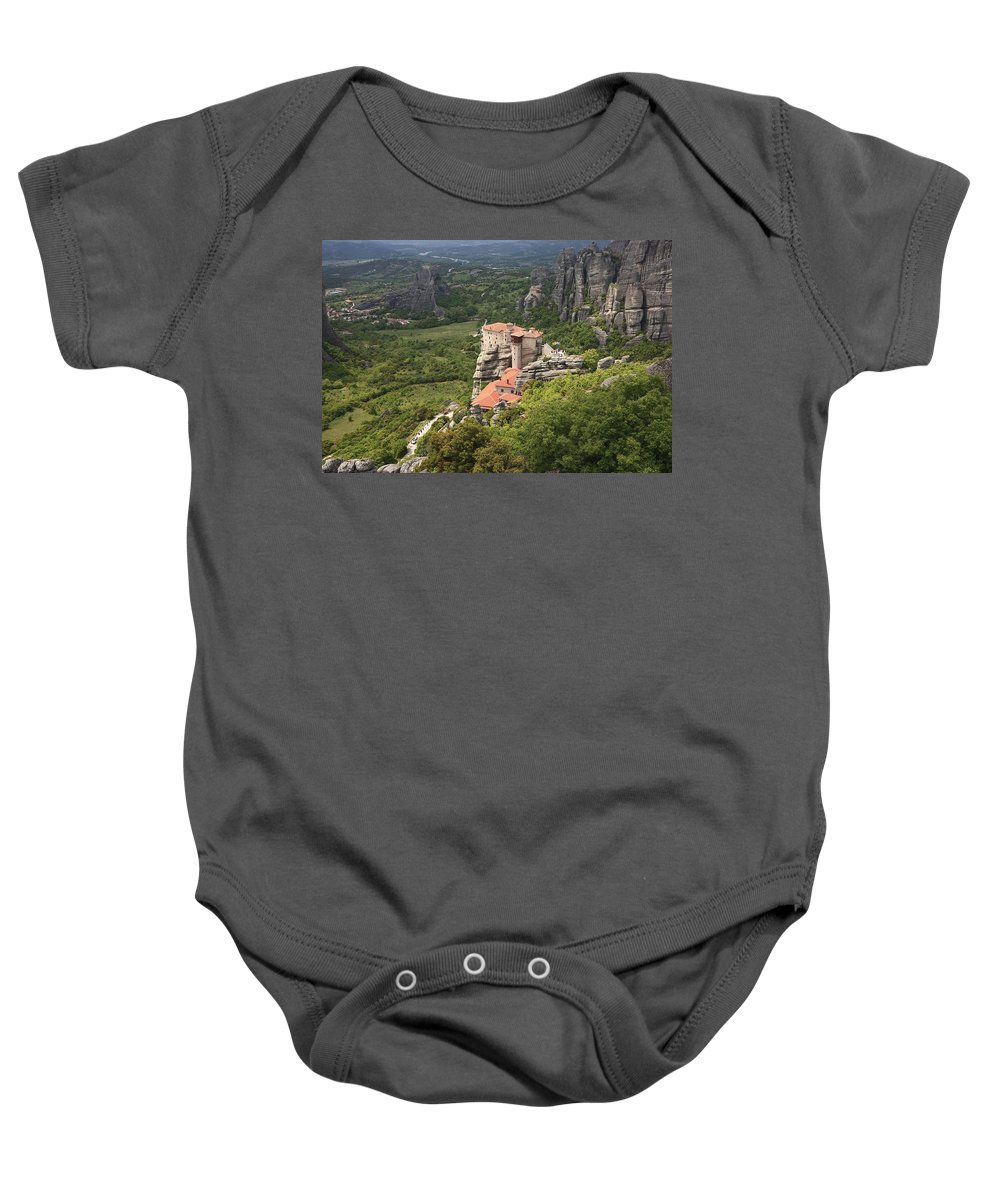 Architecture Baby Onesie featuring the photograph The Holy Monastery Of Rousanou Meteora Greece by Ivan Pendjakov