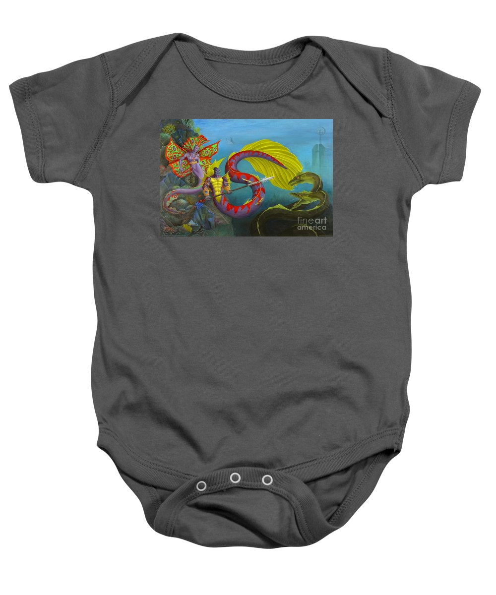 Mermaid Baby Onesie featuring the painting The Threat by Melissa A Benson