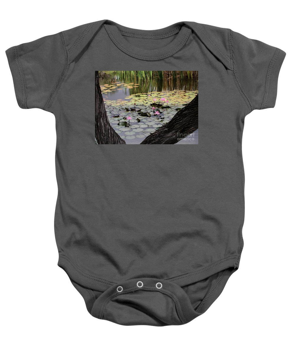 Landscape Baby Onesie featuring the photograph Wild Water Lilies In The River by Sabrina L Ryan