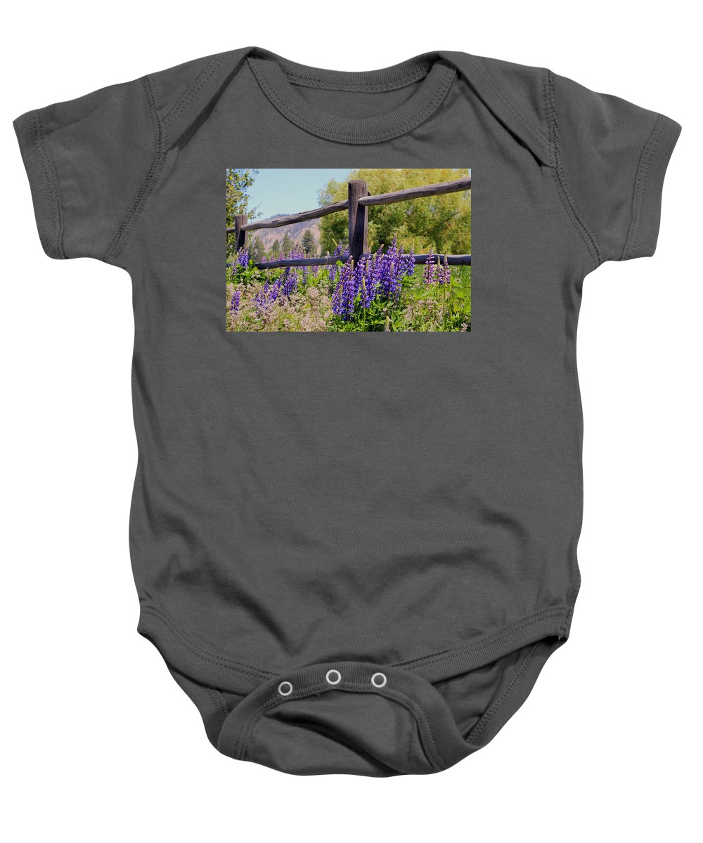 Wild Flowers Baby Onesie featuring the photograph Wildflowers On The Fence by Athena Mckinzie