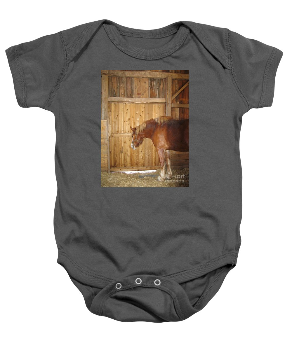 Horse Baby Onesie featuring the photograph Wistful by Ann Horn