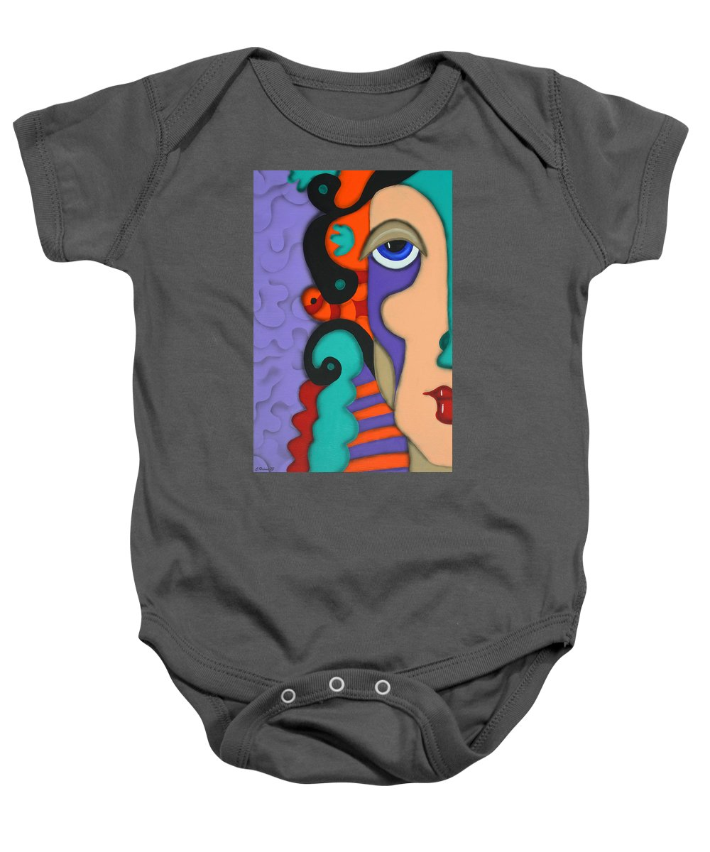 Abstract Face Baby Onesie featuring the painting Your Wildest Imagination by Catherine Harms