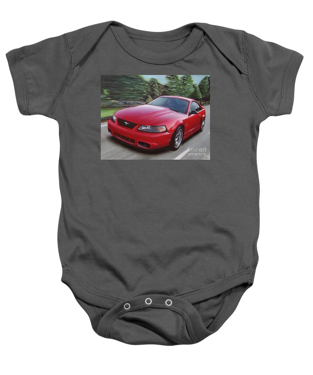 2001 Baby Onesie featuring the drawing 2001 Ford Mustang Cobra by Paul Kuras