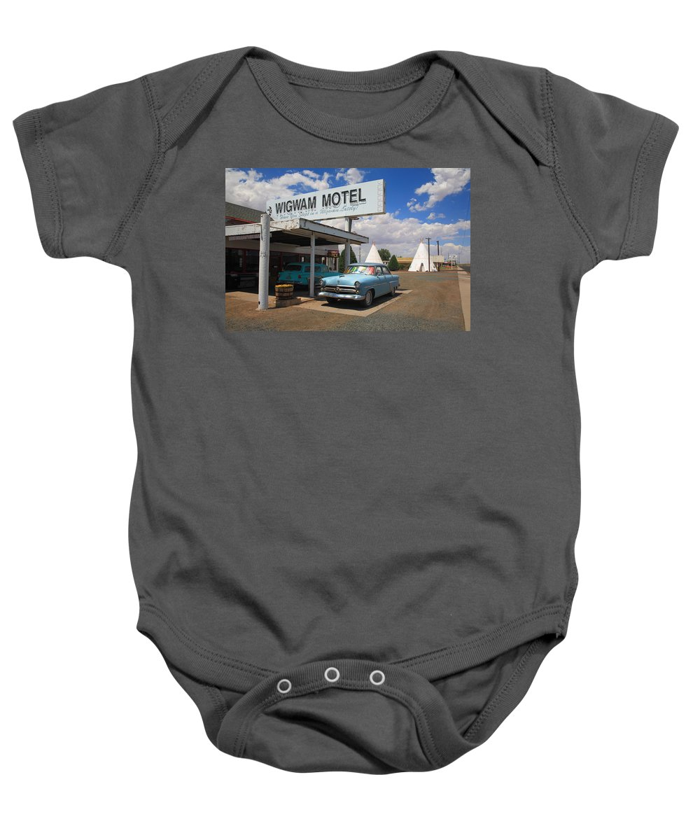 66 Baby Onesie featuring the photograph Route 66 - Wigwam Motel by Frank Romeo
