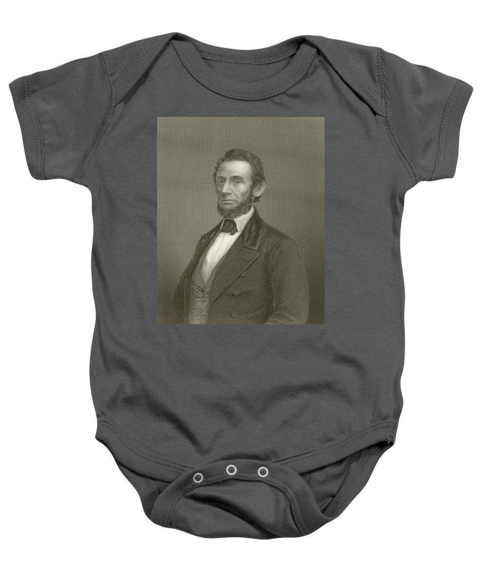 Abraham Lincoln Baby Onesie featuring the drawing Abraham Lincoln by English School