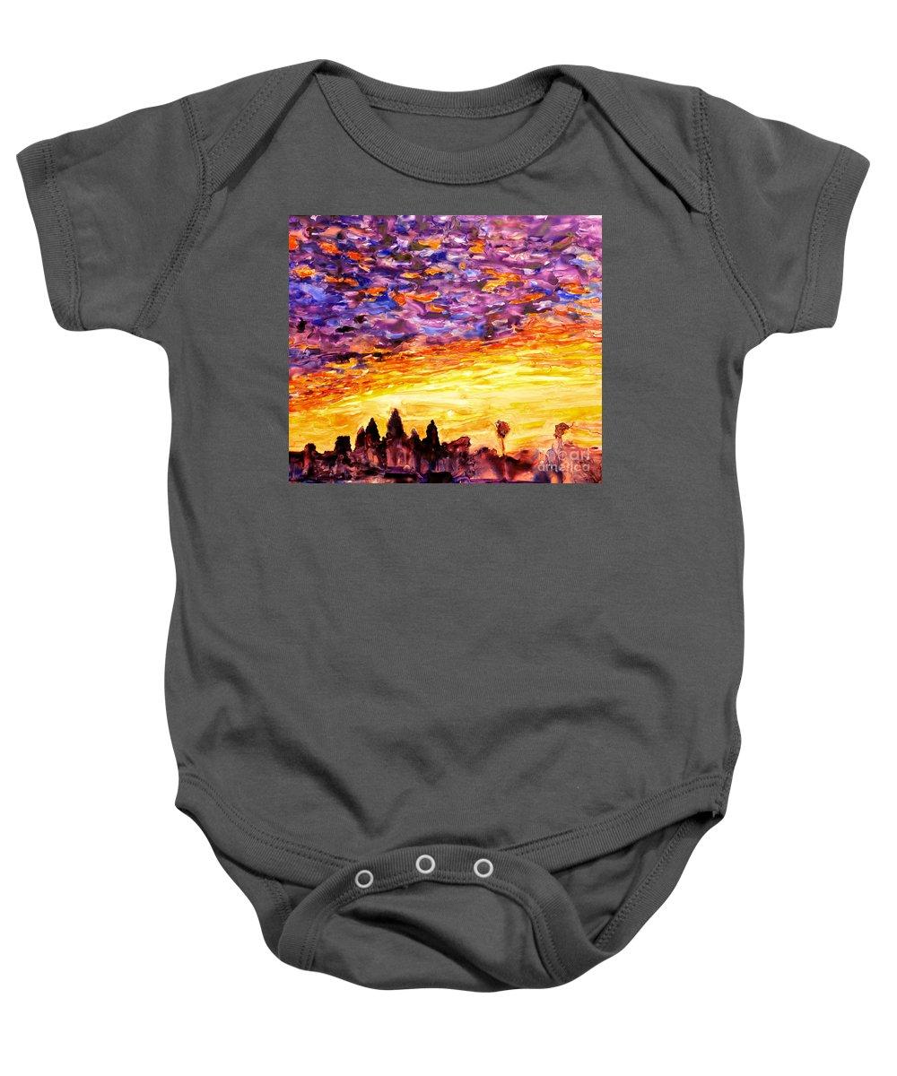 Yupo Baby Onesie featuring the painting Angkor Sunrise by Ryan Fox