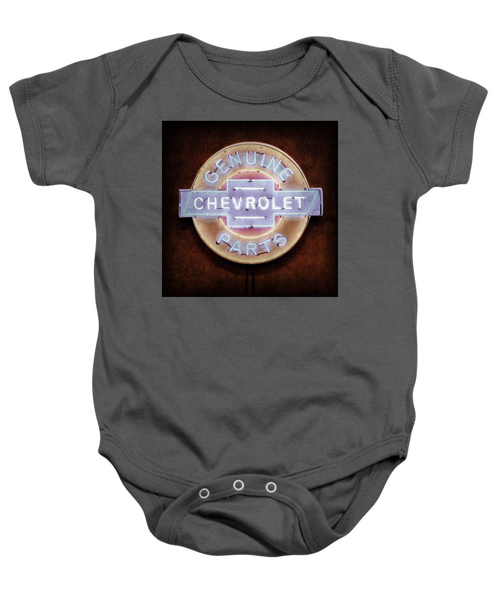 Chevrolet Neon Sign Baby Onesie featuring the photograph Chevrolet Neon Sign by Jill Reger