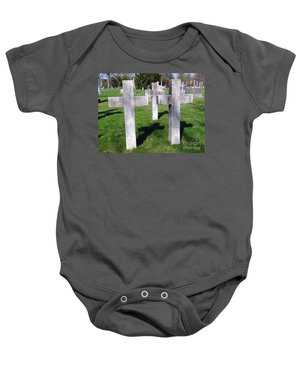 Graveyard Baby Onesie featuring the photograph 3 Crosses by Ed Weidman