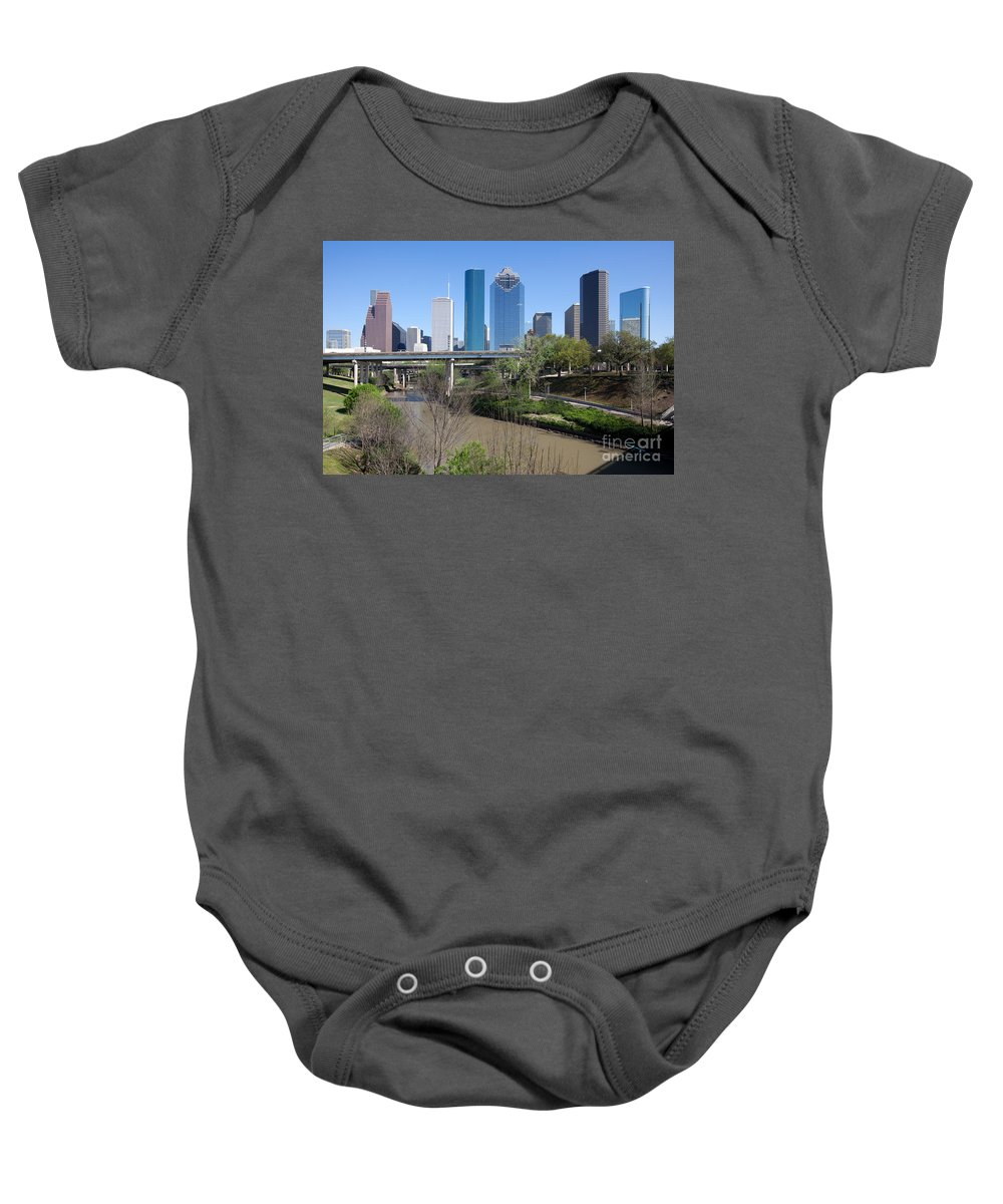 Houston Baby Onesie featuring the photograph Houston Skyline by Bill Cobb