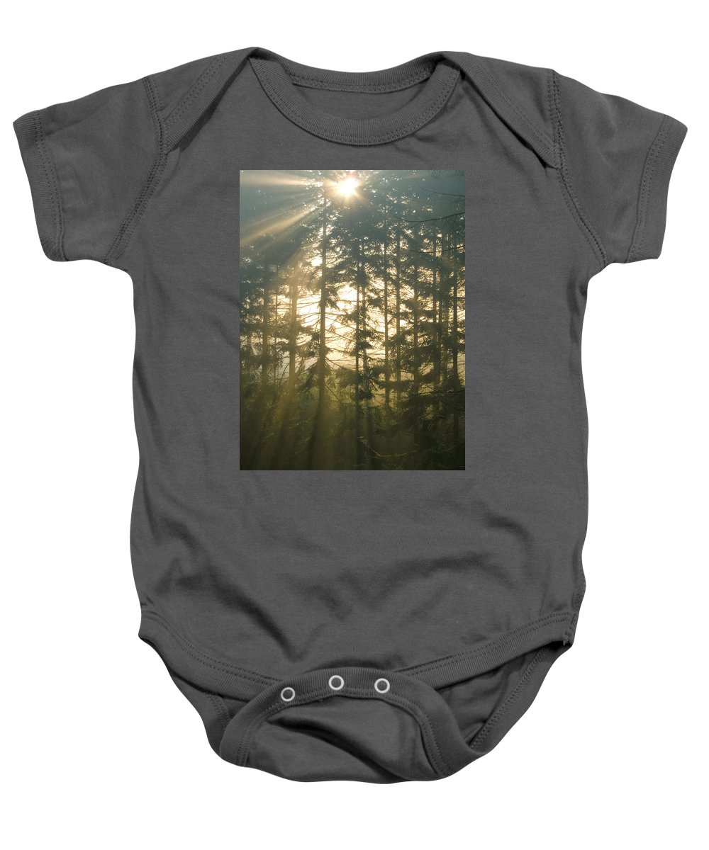 Nature Baby Onesie featuring the photograph Light In The Forest by Daniel Csoka