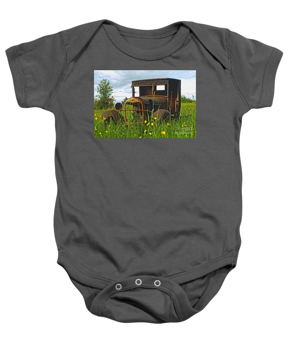 Old Cars Baby Onesie featuring the photograph Not Much Left by Randy Harris