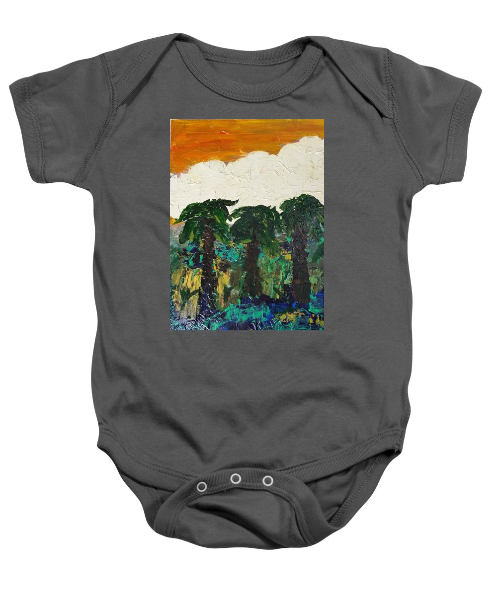 Palms Baby Onesie featuring the painting 3 Palms by Peter Nervo