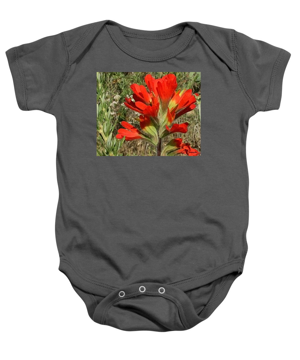 Texas Paint Brush Baby Onesie featuring the painting Texas Paintbrush by Ellen Henneke