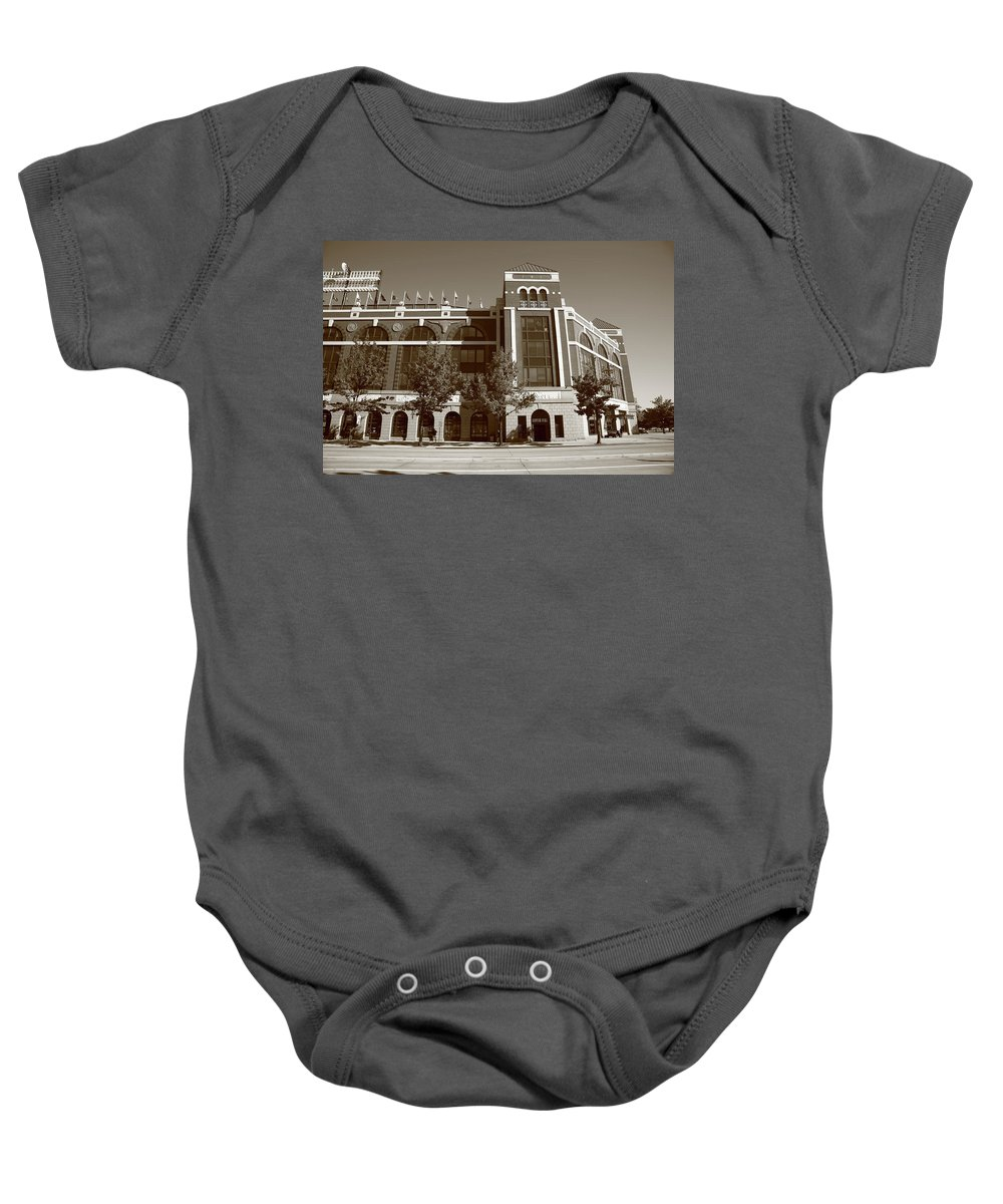 America Baby Onesie featuring the photograph Texas Rangers Ballpark In Arlington by Frank Romeo