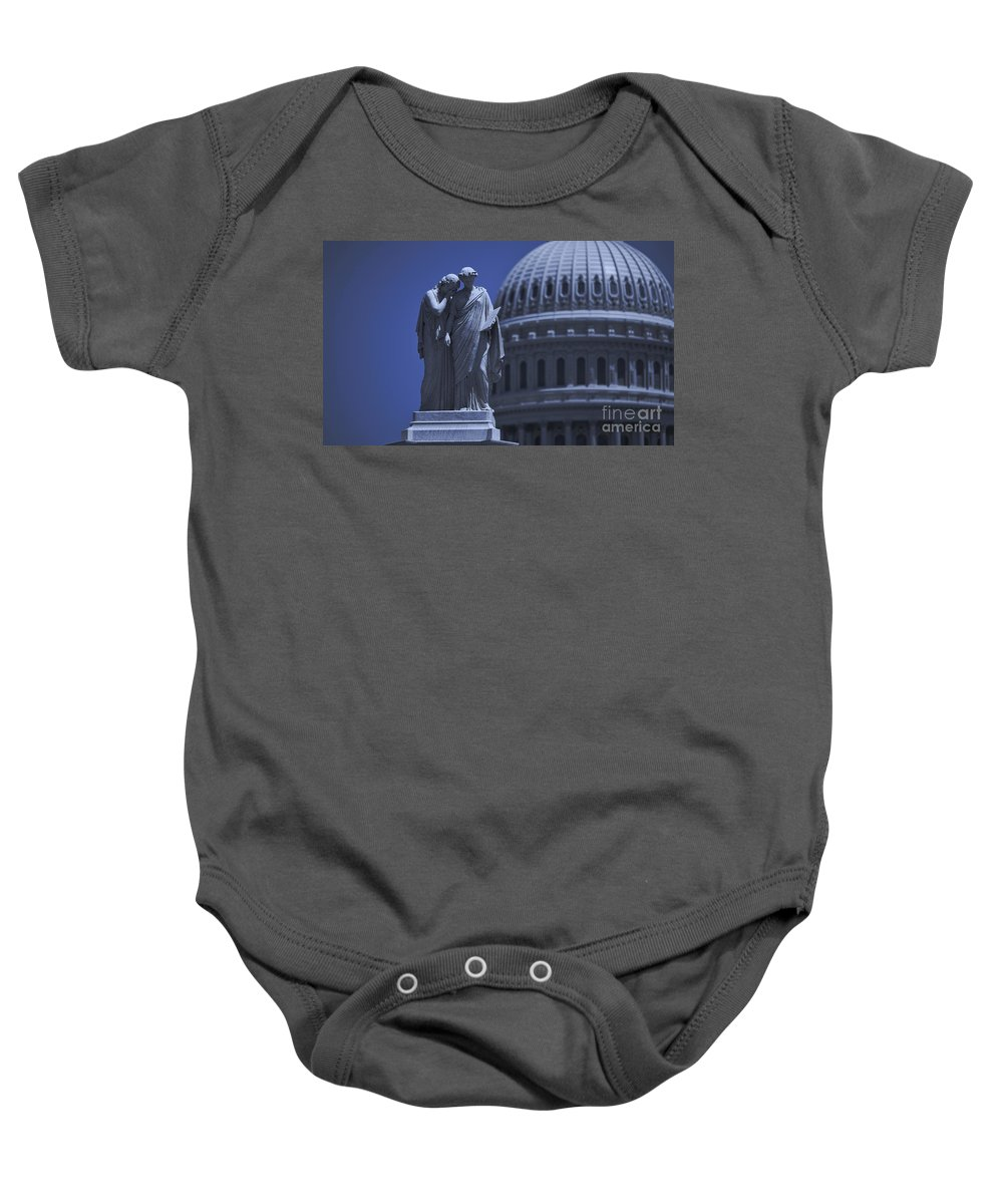 Us Baby Onesie featuring the photograph Us Capitol Peace Monument by B Christopher
