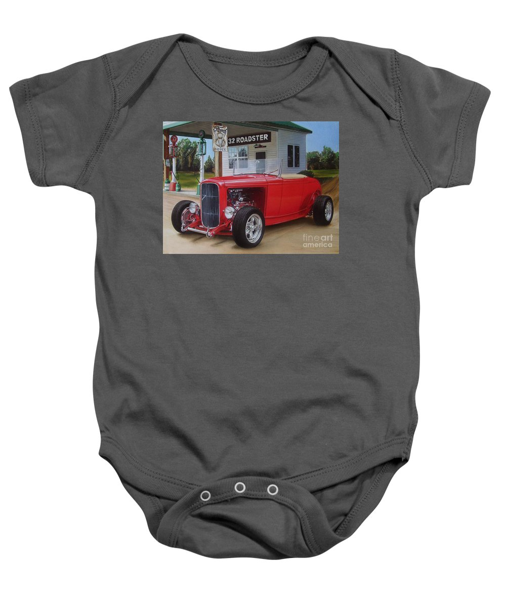 1932 Baby Onesie featuring the drawing 32 Ford At Filling Station by Paul Kuras