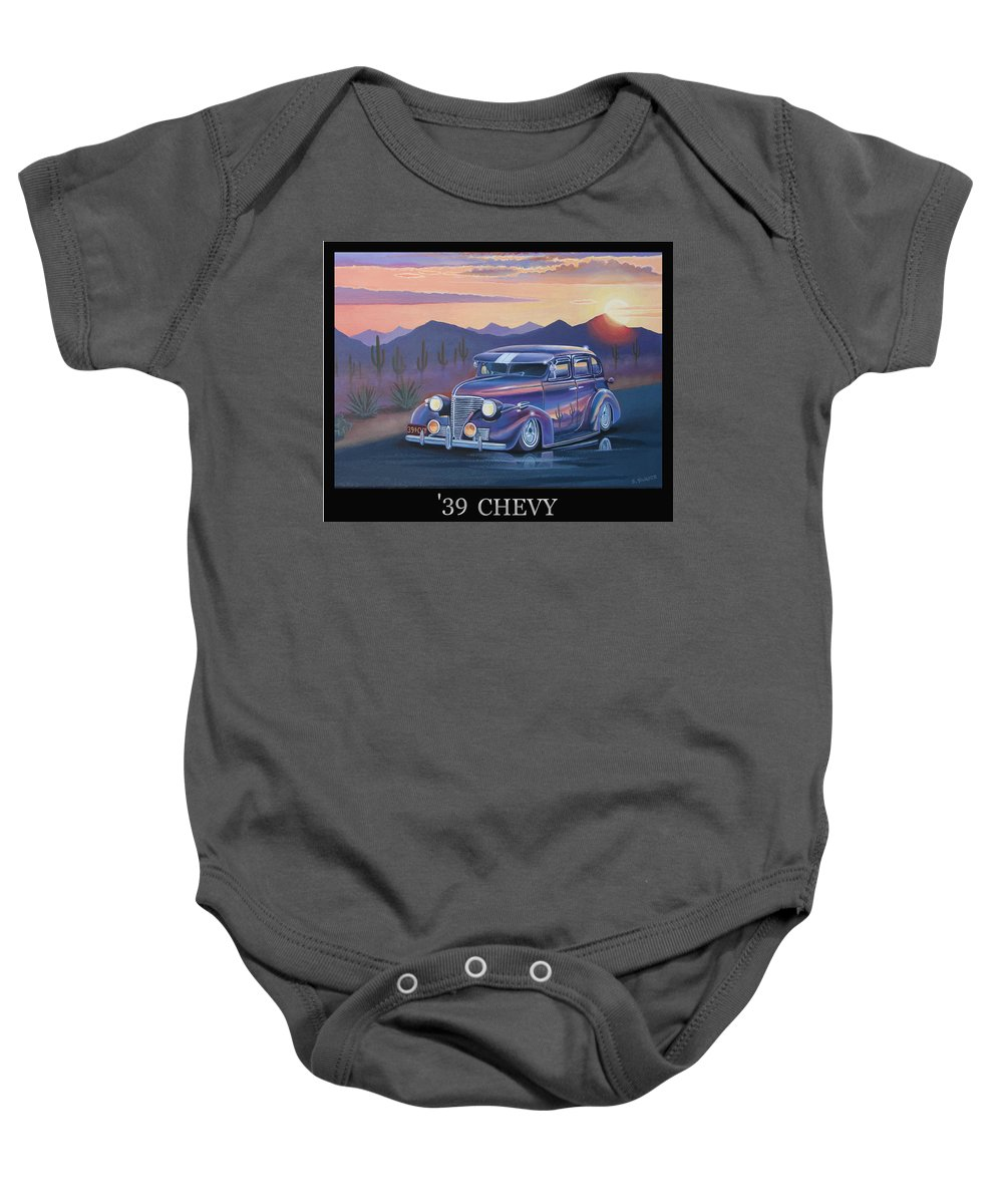 Automotive Baby Onesie featuring the painting '39 Chevy by Stuart Swartz