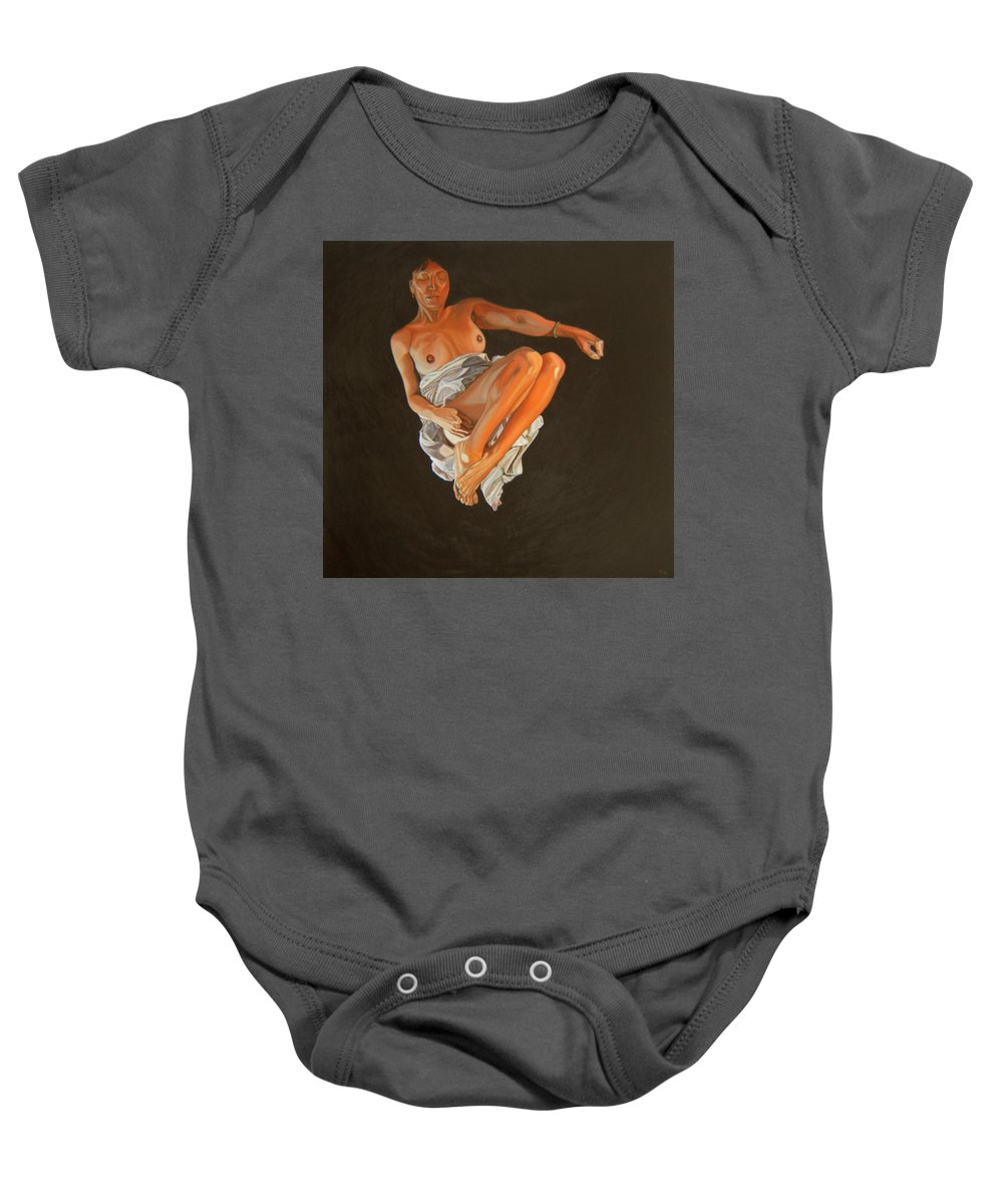 Semi-nude Baby Onesie featuring the painting 4 30 Am by Thu Nguyen