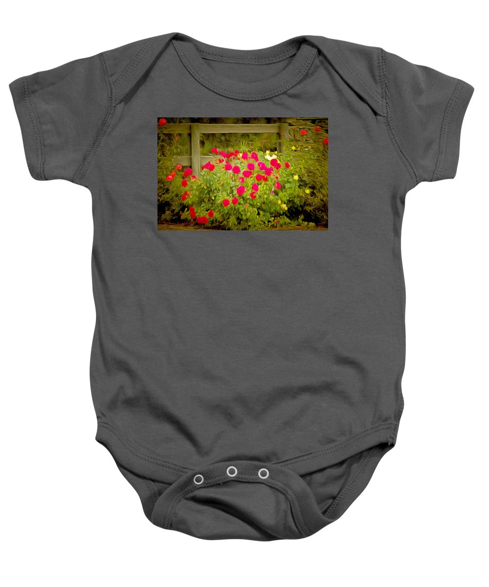 Fence Line Flowers Baby Onesie featuring the painting Fence Line Flowers by Barbara Snyder