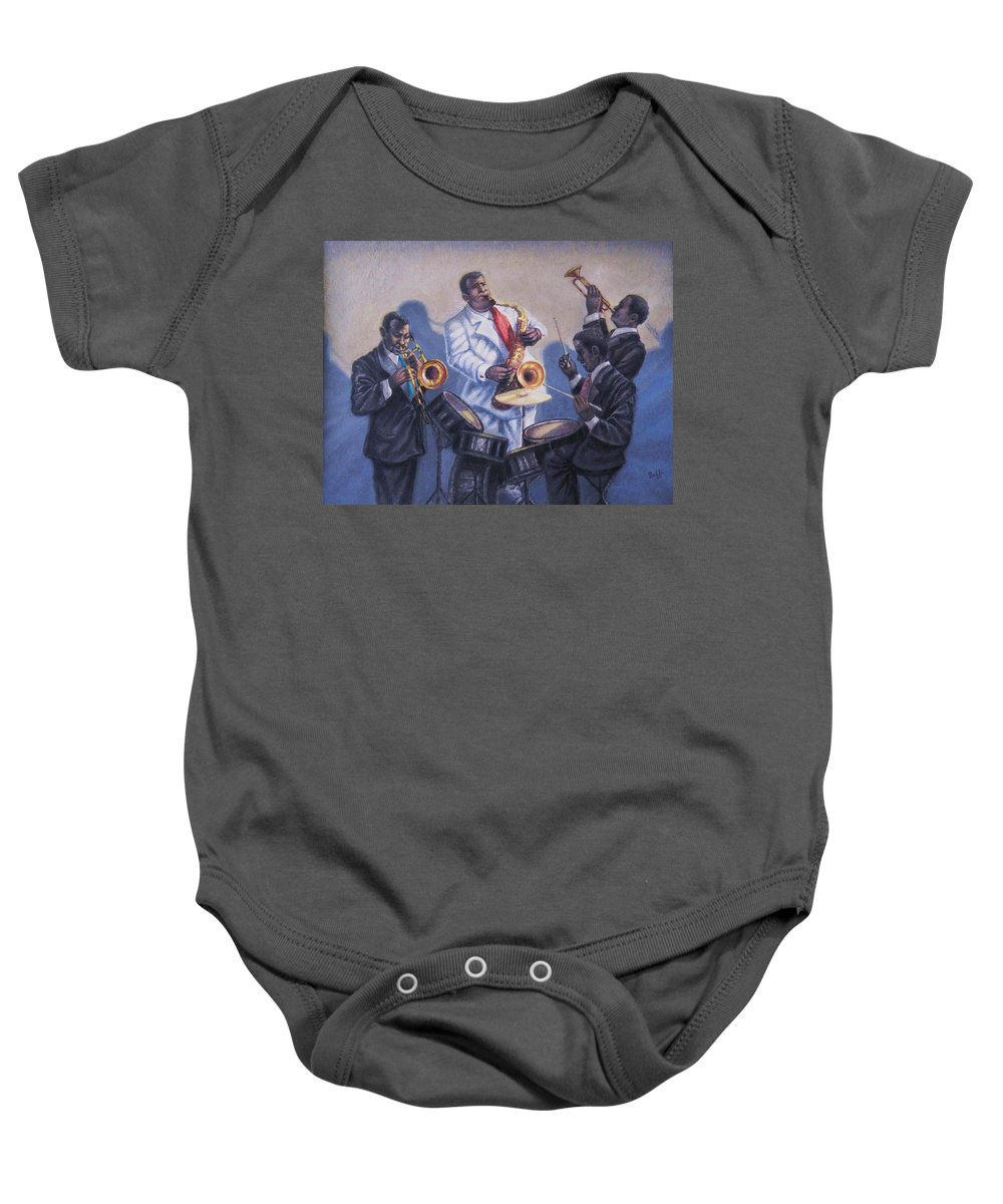 Jazz Baby Onesie featuring the painting Big Jay And Company by Raffi Jacobian