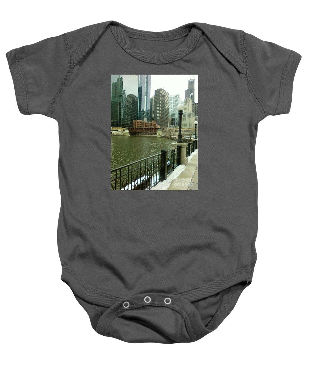 Chicago Baby Onesie featuring the photograph Lake Street Bridge by Alfie Martin