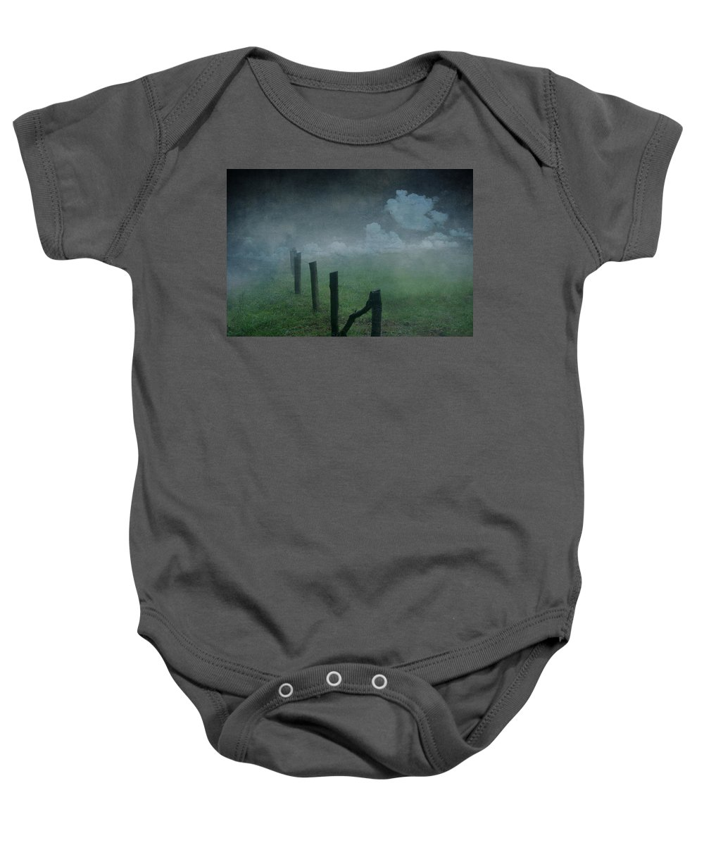 Nature Baby Onesie featuring the mixed media Landscape by Heike Hultsch