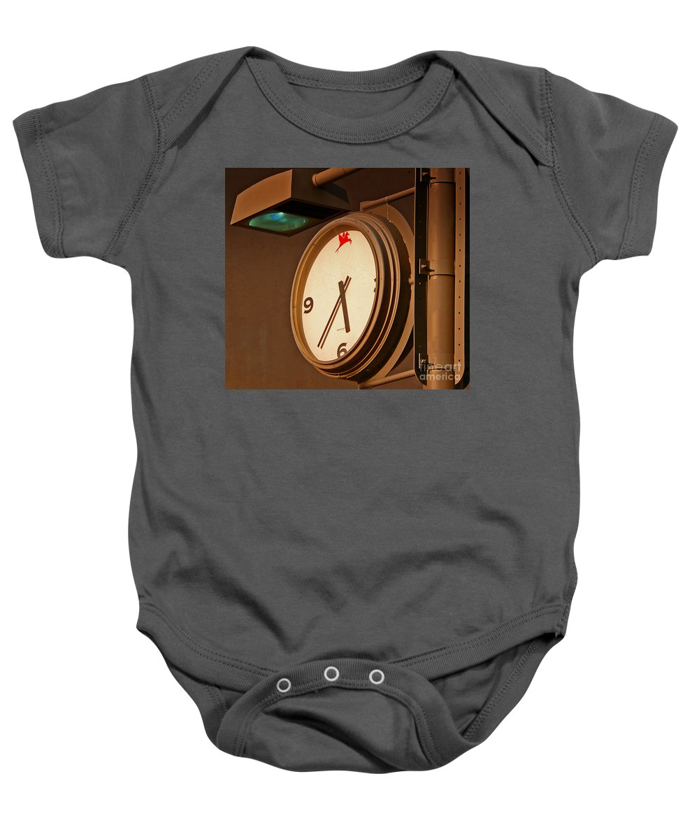 Time Baby Onesie featuring the photograph Rush Hour by Angela Wright