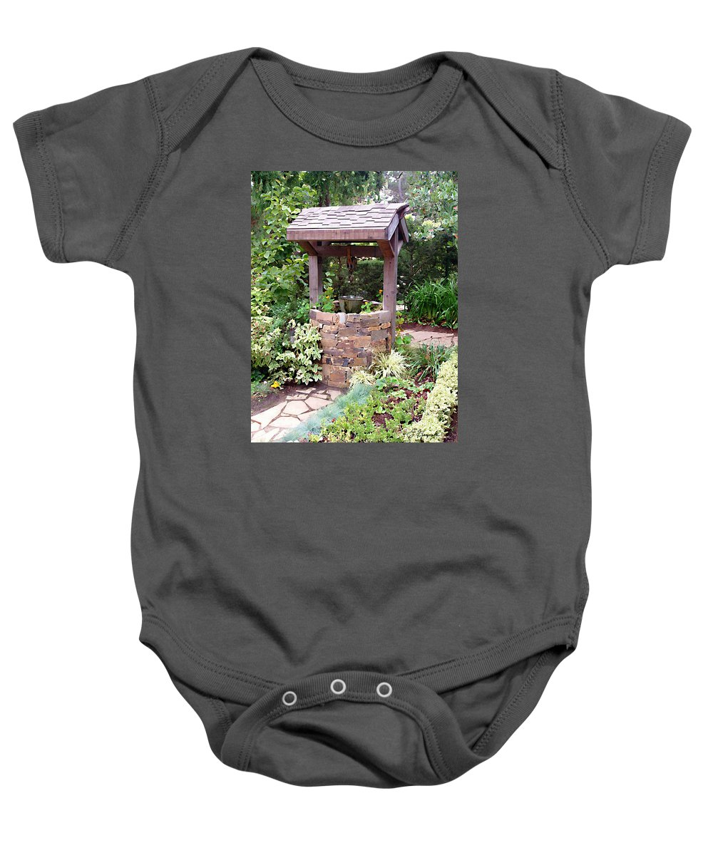 Wishing Well Baby Onesie featuring the painting Wishing Well by Ellen Henneke