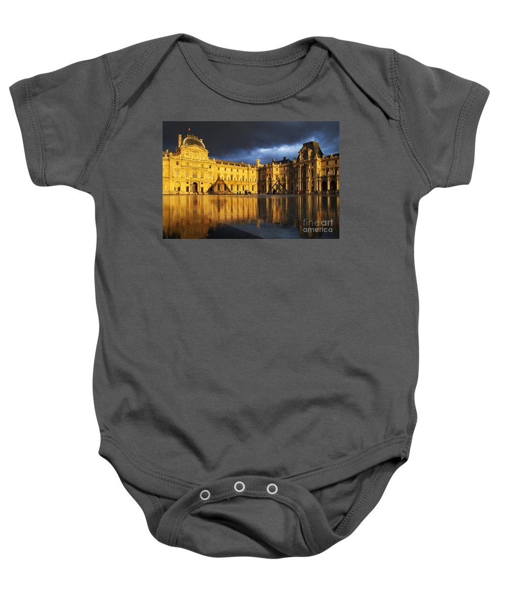 Architectural Baby Onesie featuring the photograph Musee Du Louvre by Brian Jannsen