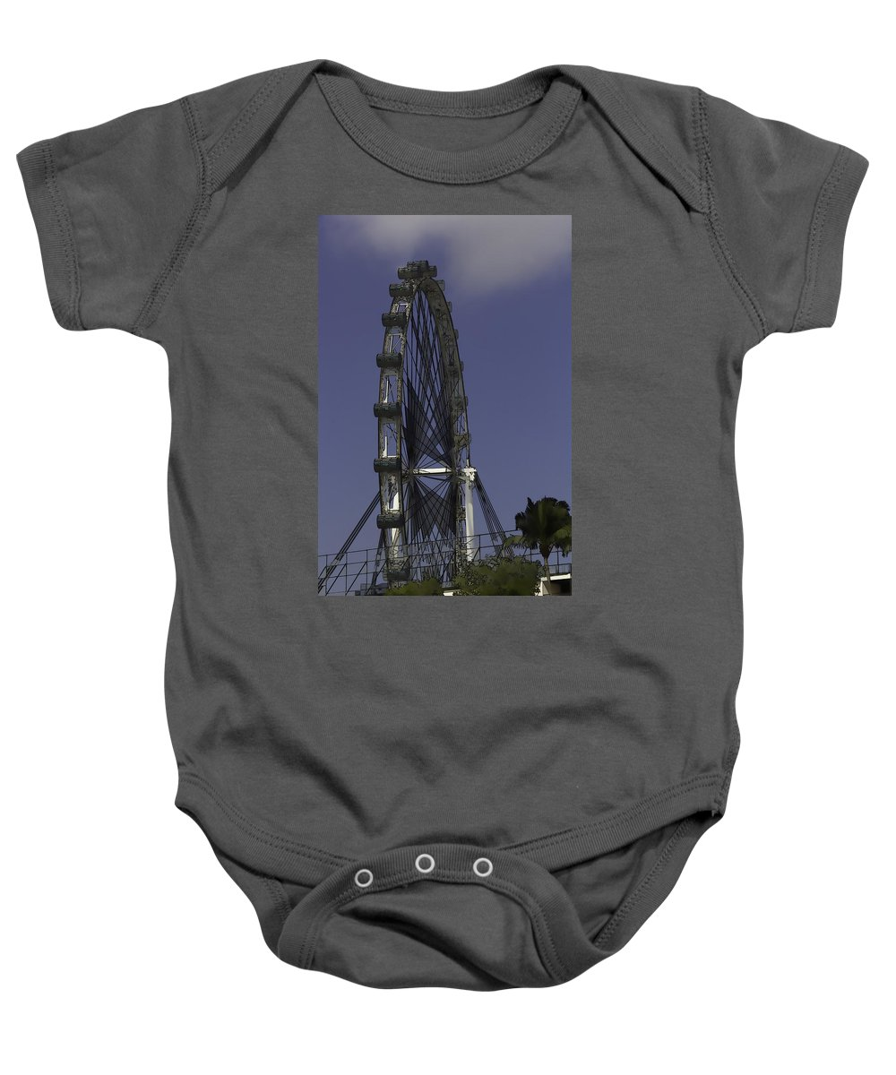 Asia Baby Onesie featuring the digital art Singapore Flyer by Ashish Agarwal