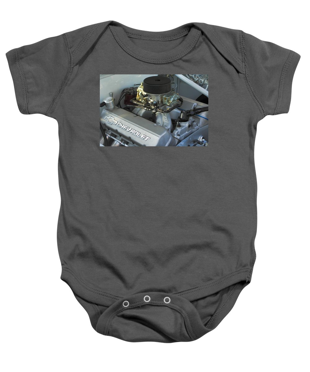 Chevrolet Engine Baby Onesie featuring the photograph Chevrolet Engine by Jill Reger