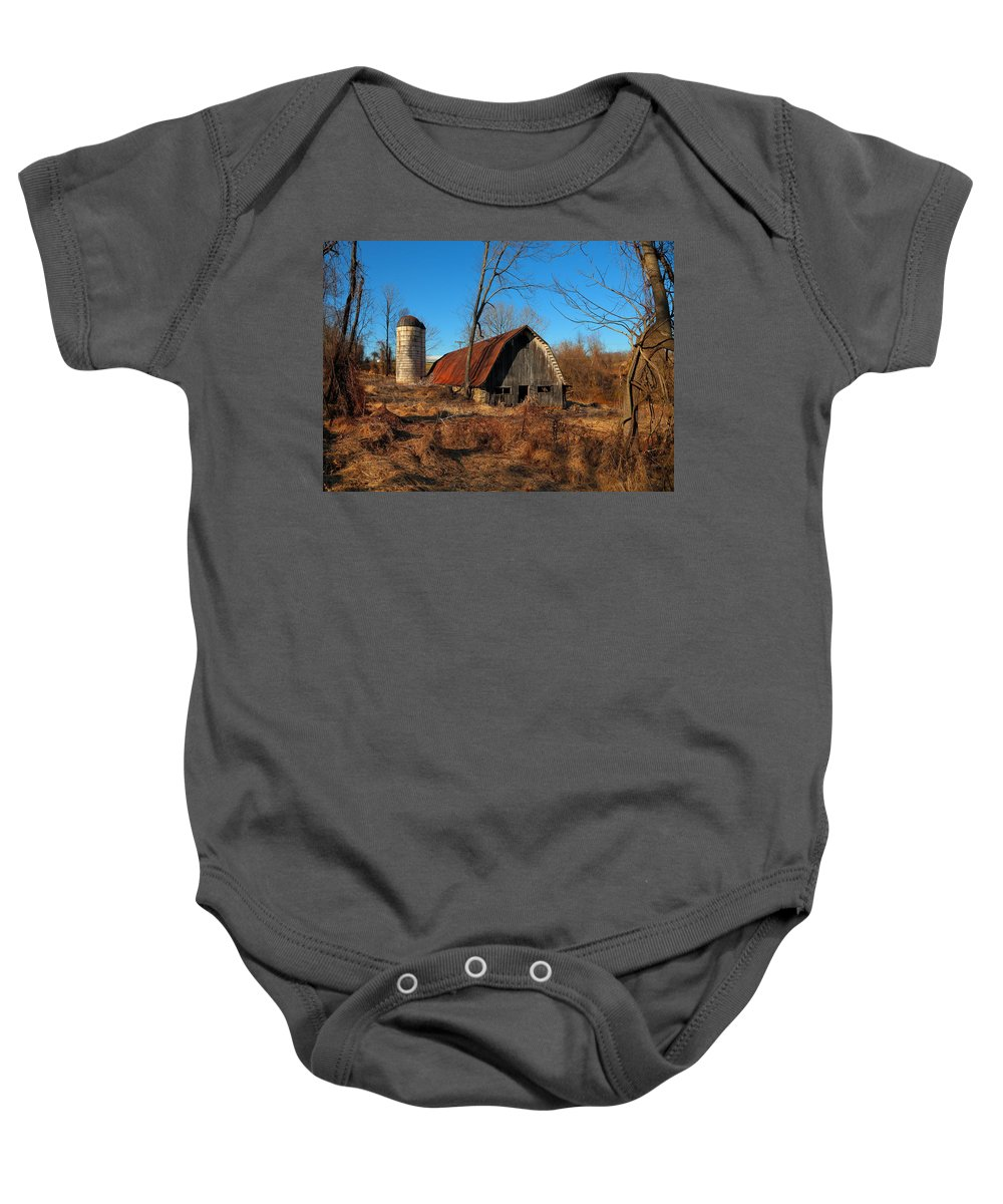 Barn Baby Onesie featuring the photograph Paeonian Springs Barn by Scott Fracasso