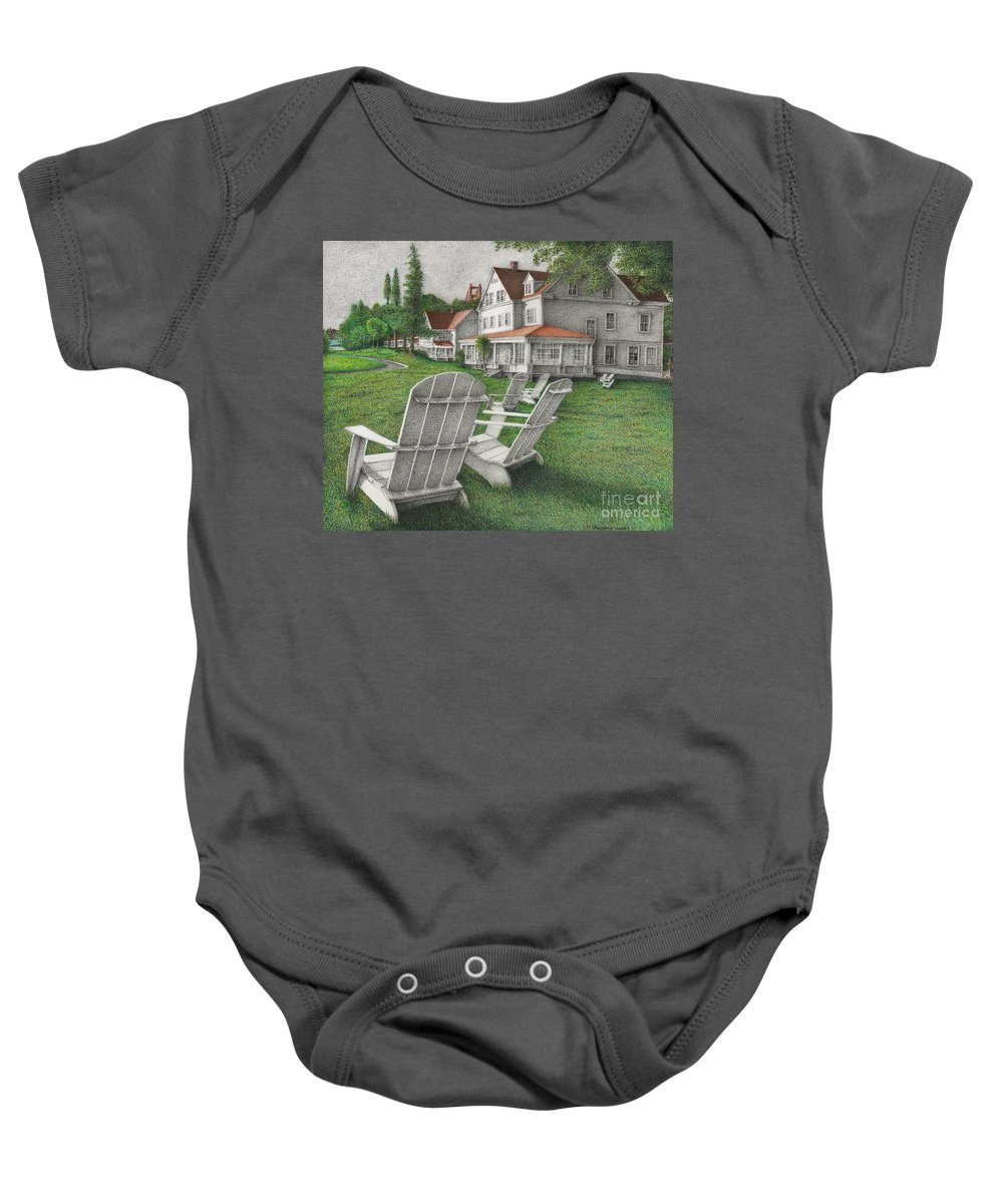 Drawing Baby Onesie featuring the drawing 605 Murray Circle by Michael Stanford