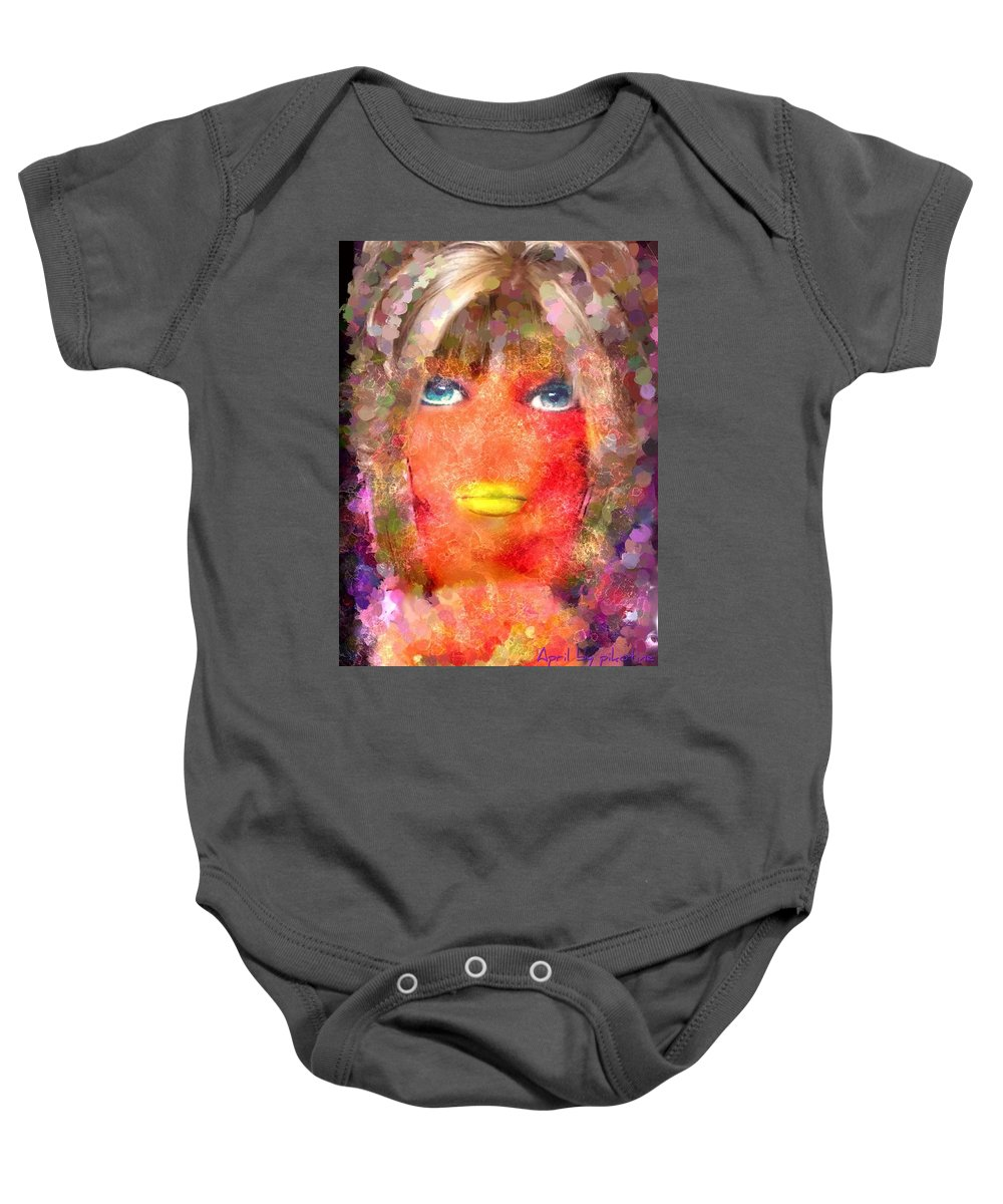 April Baby Onesie featuring the painting April by Pikotine Art