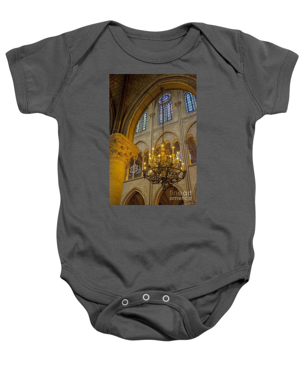 Arch Baby Onesie featuring the photograph Cathedral Notre Dame by Brian Jannsen