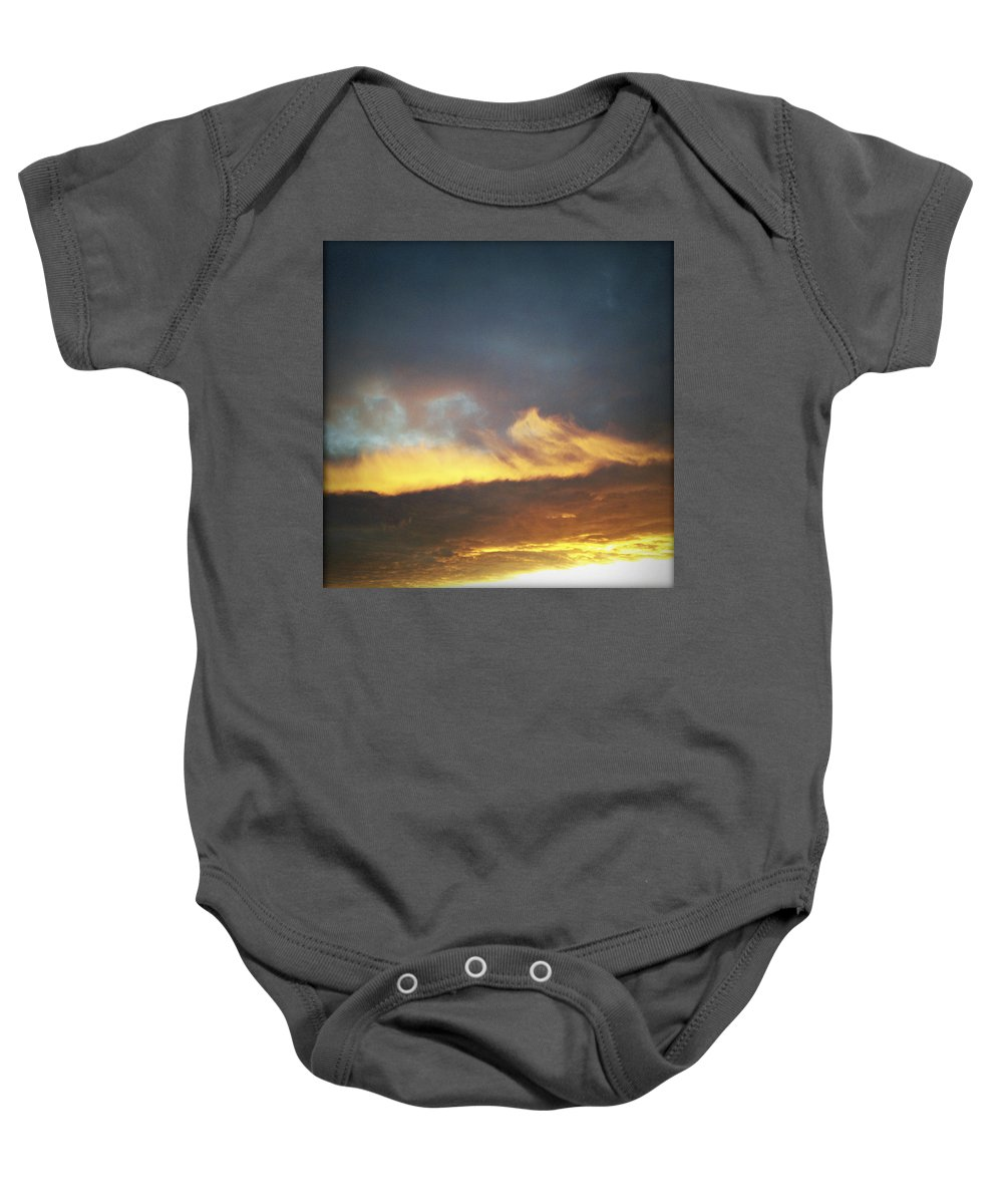 Sunlit Baby Onesie featuring the photograph Sunset Sky by Les Cunliffe