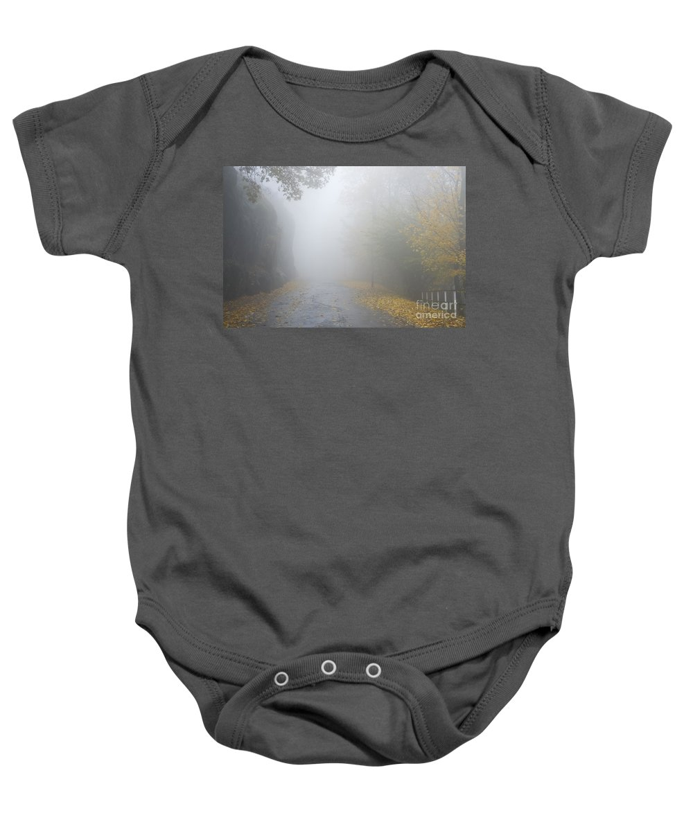 Road Baby Onesie featuring the photograph Foggy Road by Mats Silvan