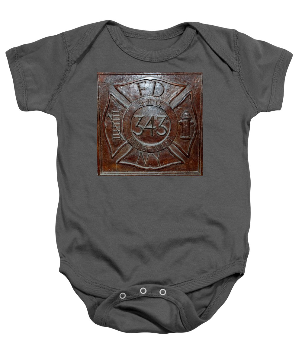 Fdny Baby Onesie featuring the photograph 9 11 01 F D N Y 343 by Rob Hans