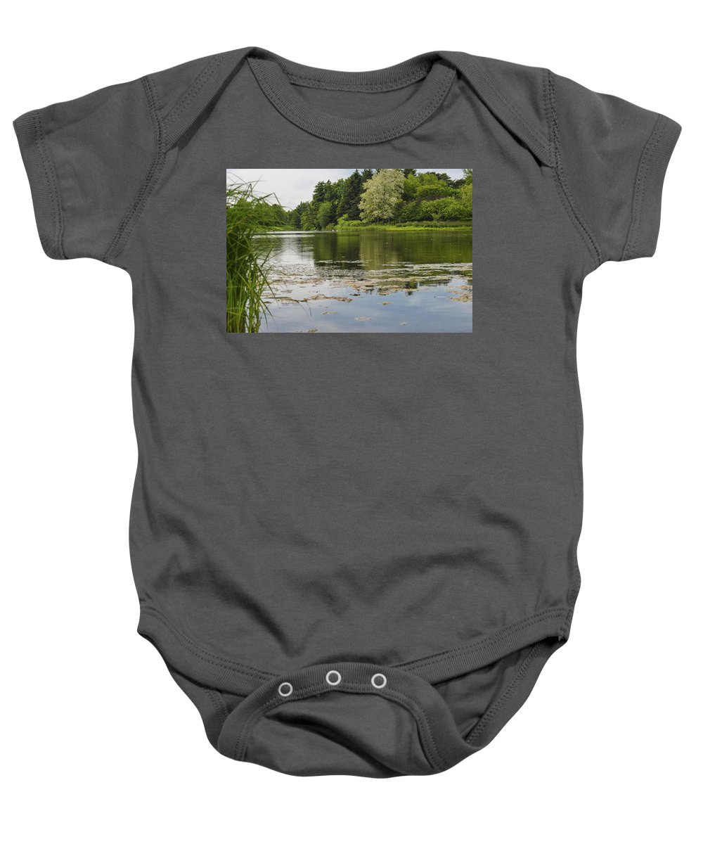 Asian Baby Onesie featuring the photograph Pond With Trees by Patrick Warneka
