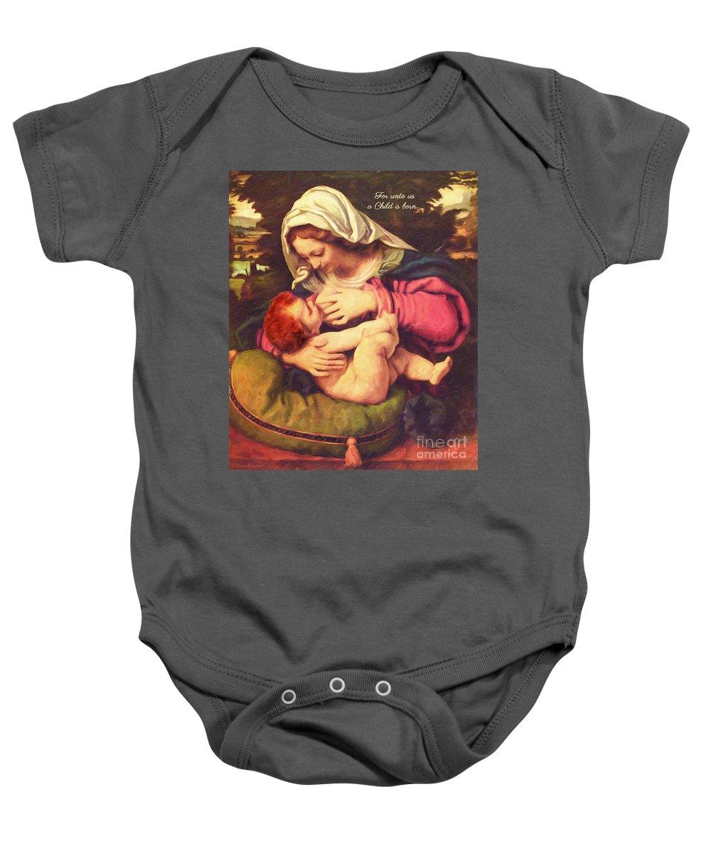 Virgin Baby Onesie featuring the digital art A Child Is Born by Lianne Schneider