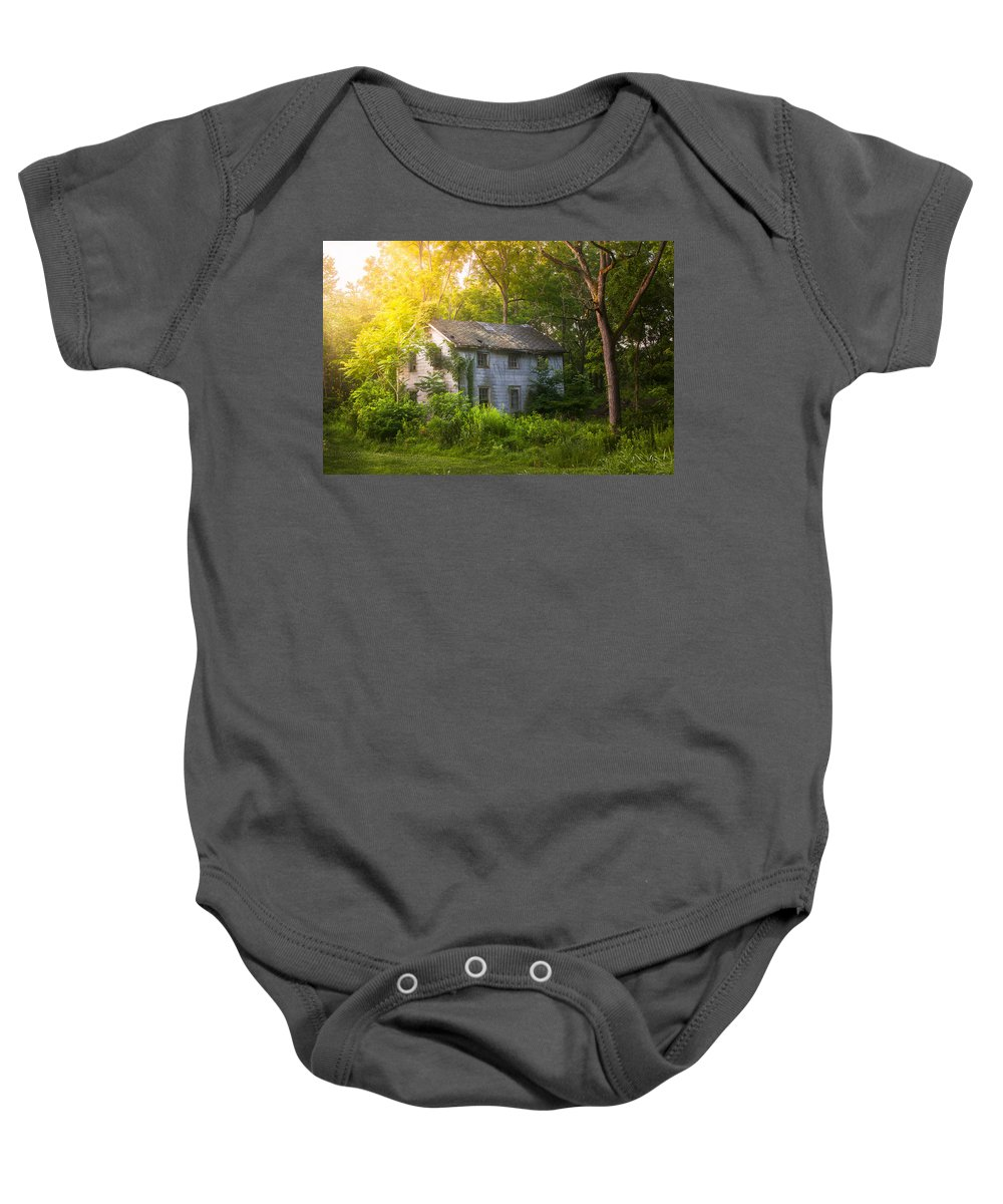 Old House Baby Onesie featuring the photograph A Fading Memory One Summer Morning - Abandoned House In The Woods by Gary Heller