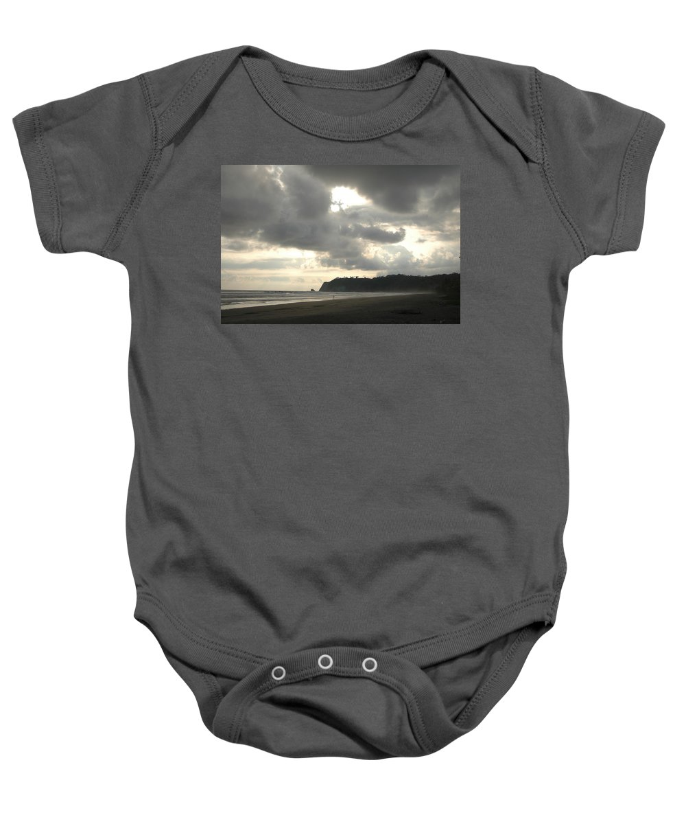 Beach Baby Onesie featuring the photograph A Figure Strolls Along The Beach, Playa by Kyle Glover