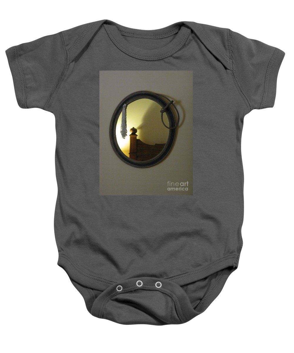Cowboy Baby Onesie featuring the photograph A Ghost Of The Cowboy by Ausra Huntington nee Paulauskaite