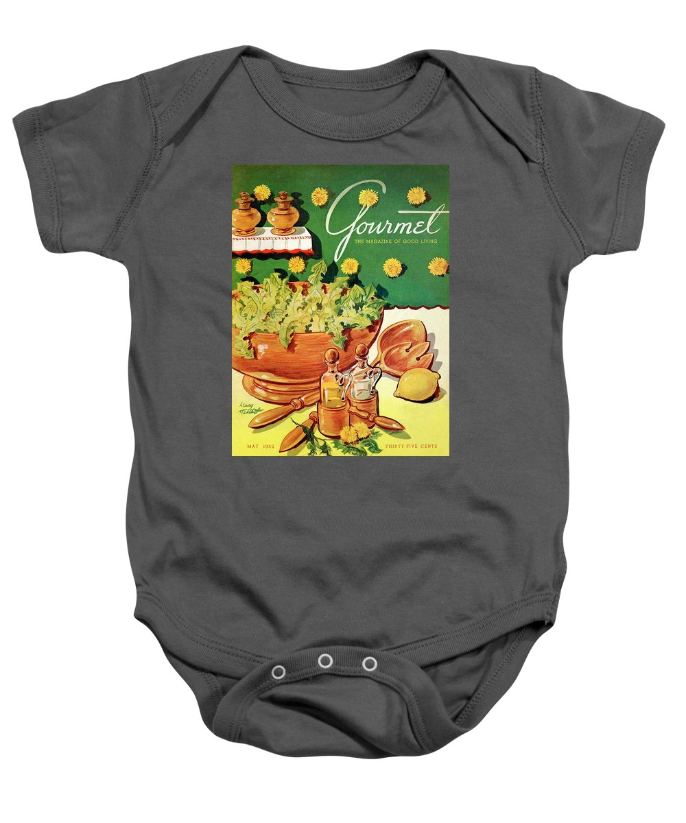 Food Baby Onesie featuring the photograph A Gourmet Cover Of Dandelion Salad by Henry Stahlhut