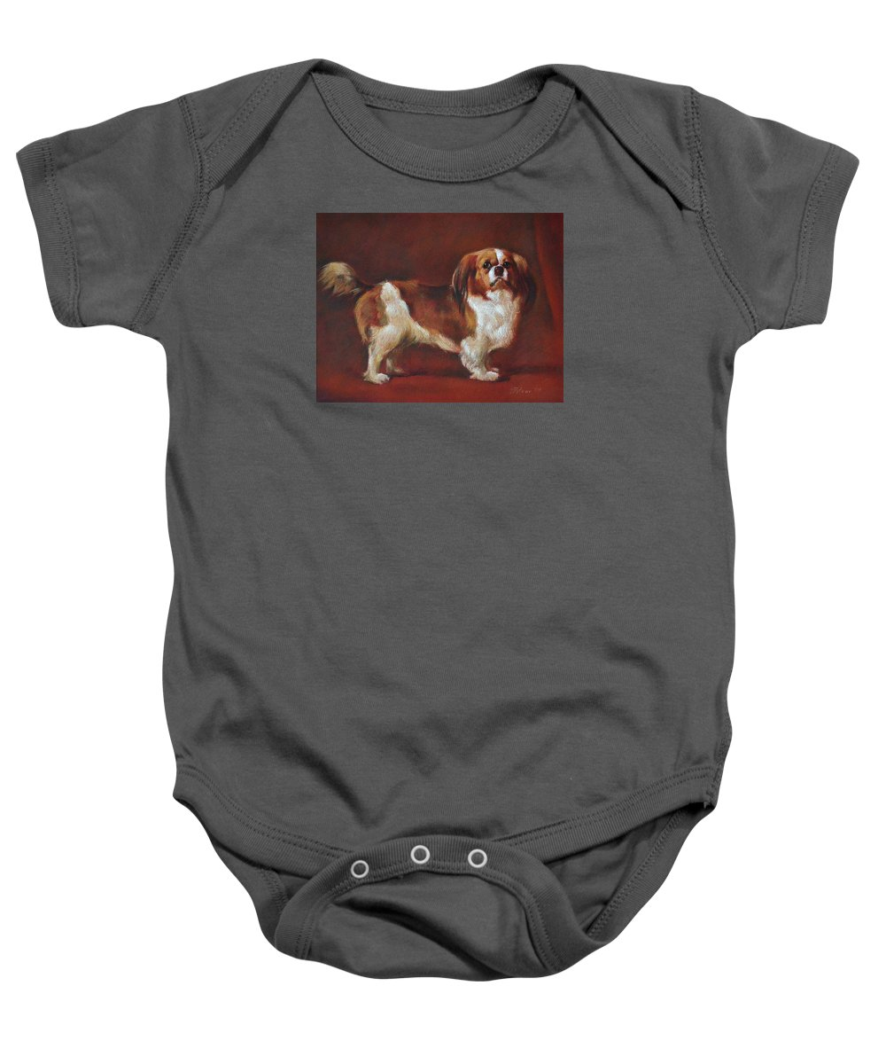 Pastel Baby Onesie featuring the painting A King Charles Spaniel by Iliyan Bozhanov