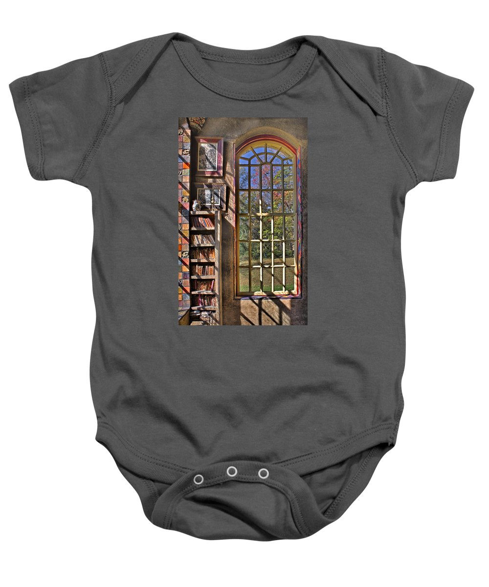Byzantine Baby Onesie featuring the photograph A Look From The Library by Susan Candelario