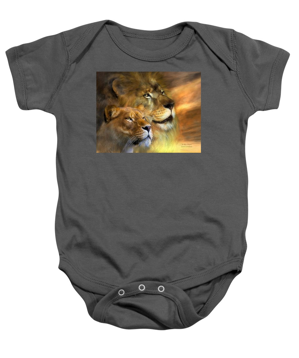 Lion Baby Onesie featuring the mixed media A New Dawn by Carol Cavalaris
