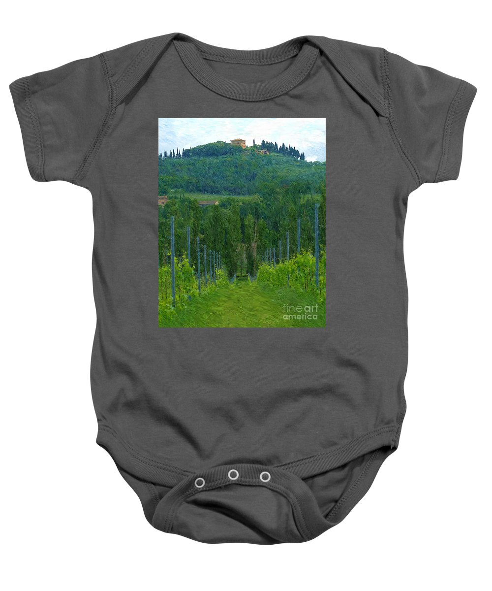 Tuscany Baby Onesie featuring the photograph A Painting A Tuscan Vineyard And Villa by Mike Nellums